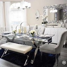 We could live in this fresh and modern dining room from 💙 Style Tip: Glass top tables give your dining space more breathing room. Shop the look by tapping. Dining Room Table Centerpieces, Dinning Room Tables, Glass Dining Table, Dining Room Furniture, Luxury Dining Room, Dining Room Design, Dinner Room, Dining Room Inspiration, Home Decor Kitchen