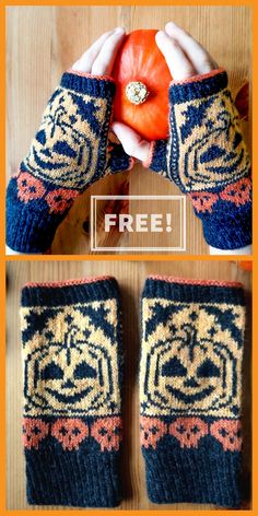 1 Free Knitting Pattern for Scary Pumpkin Mitts – Halloween fingerless mitts with jack o' lanterns and skulls in stranded colorwork. Designed by Happy Sisyphos. Sizing of the mitts depends on the chosen gauge. knitting to… Read Fair Isle Knitting Patterns, Sweater Knitting Patterns, Easy Knitting, Knitting Socks, Cowl Patterns, Knitting Machine, Fingerless Gloves Knitted, Knit Mittens, Halloween Crochet Patterns