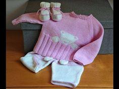 Conjunto de bebe tejido a crochet - ropa para bebe en ganchillo - YouTube
