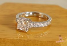 Princess cut, pave diamonds, and engraving... Vintage but modern <3