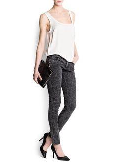 Mango Womens Studded Slim Trousers, Black, 12 coupon| gamesinfomation.com