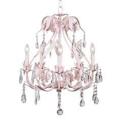 $359 Kids Pink Crystal Chandelier Nursery Room Decor Light Fixture Lighting Jewels