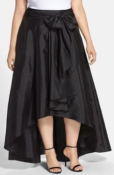 Adrianna Papell High/Low Taffeta Skirt (Plus Size)