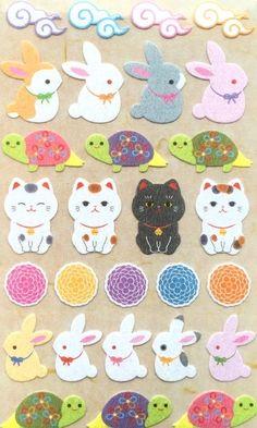 Japanese stickers http://etsy.me/29WJdb6 #cat #rabbit #turtle #flower #stickers #japan #etsy #craft
