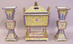 Chinese C18th enamel on copper alter set - incense burner/censer and two gu vases; 'one of a kind antiques'