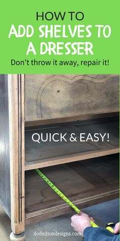 After learning how to add shelves to a dresser, those curbside finds gave a new meaning to furniture flipping the quick & easy way. Here's an easy way to repair those broken drawers for an updated new look for your next dresser makeover. Diy Furniture Repair, Cheap Furniture Makeover, Refinish Wood Furniture, Diy Furniture Renovation, Diy Dresser Makeover, Dresser Furniture, Diy Furniture Projects, Painted Furniture, Diy Furniture Flip