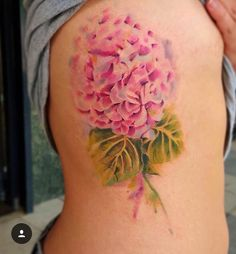 Hydrangea floral watercolor tattoo