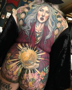 Colorful tattoos for women done by tattoo artist Samantha Smith Full Back Tattoos, Full Body Tattoo, Body Art Tattoos, Girl Tattoos, Sleeve Tattoos, Back Tattoo Women Full, Girl Stomach Tattoos, Samantha Smith, Sam Smith