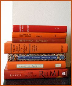A stack of orange-hued books. Orange Aesthetic, Book Aesthetic, Aesthetic Vintage, The Essential Rumi, Tammy Love, Orange Book, Lily Potter, Red Books, Good Energy