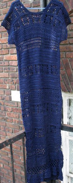 NAVY blue crochet MAXI DRESS by Elegantcrochets on Etsy, $298.00