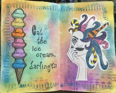 Journal page with Distress Oxide Inks and Dylusions stamp.