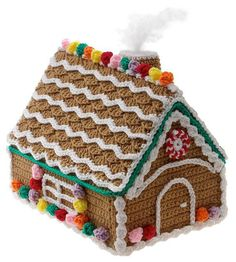 "Note: This listing is for the digital download PDF of the crochet pattern to make this item. It is not the actual finished gingerbread house. Fun to crochet and display, this charming frosted gingerbread bouse is decorated with colorful popcorn-stitch gumdrops and chain stitch frosting. 5 1/2"" x 8 1/2"" pattern booklet (available by mail only) Skill level Intermediate Size 7"" x 10"" x 8 1/2"" Materials Worsted weight yarn Cardboard"