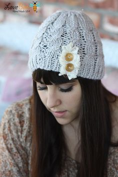 Beanie Hat- , Light Gray, Accordion lace , Wood buttons, Cable Knit, Knitted, Crochet, ivory lace, Christmas Gift
