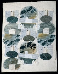 Eric Ravilious: Design for textile, showing buildings at Castle Hedingham, Essex (the village where Ravilious lived), 1941.