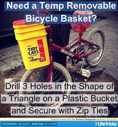 Extreme Cheapskates - Make a Temporary Removable Basket for your Bicylce Extreme Cheapskates, Ways To Save, The Only Way, Frugal, Saving Money, Retail, Basket, Hacks, Tips