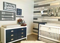 White and Navy Modern Crib and Dresser