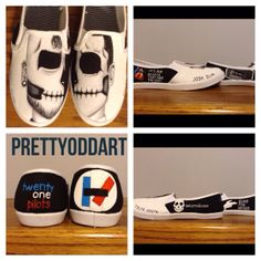 TwentyOne Pilots shoes by PrettyOddArt on Etsy, $50.00. Or these.. cuz yah