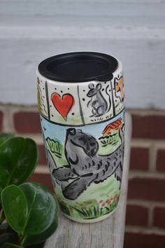 Kerry Blue Terrier.  Handpainted ceramic travel mug .OOAK .LOOK