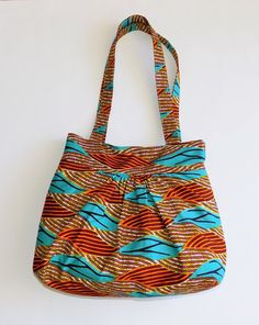 African Print/ Ankara Gathered Tote Bag African Accessories, Fashion Accessories, Women's Suitcases, Mode Wax, Ankara Bags, Tornadoes, Printed Bags, African Fabric, Kenya