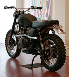 Triumph T100 Scrambler custom motorcycle - One day, one day.