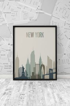 New York skyline Print Printable Poster Wall Art by ArtFilesVicky