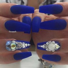 Blue Matte Coffin Nails with Rhinestone Accent Nail
