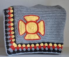 Firefighter  Baby  Blanket Granny Square  Maltese Cross Grey Red and Yellow on Etsy, $65.00