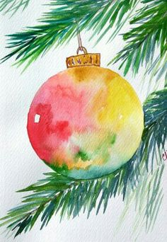 Watercolor card Christmas ornament greeting by ArtworksEclectic. Watercolor Christmas Cards, Watercolor Cards, Simple Watercolor, Watercolor Ideas, Tattoo Watercolor, Watercolor Animals, Watercolor Techniques, Watercolor Background, Watercolor Landscape