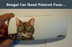 """Bengal Cat Hand Painted Faux Leather Eyeglass Case. Hand painted eyeglass case is hand painted with a bengal cat and measures 6' x 2"""" x 1"""" inches Custom orders available with a good picture of your pet or object. Thanks for your interest in my work. Copyright."""