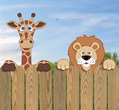 Set of 2 Giraffe & Lion Fence Peekers от DadandSonsWW на Etsy