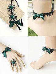 Graceful Green Flower Gothic Lolita Accessories Set