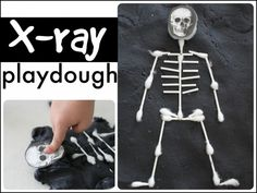 Learn about the skeletal system (and the letter X) with this X-Ray playdough activity. Print off the skull and use Q-Tips for the bones!