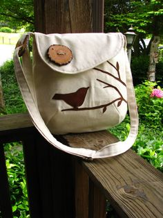 SMALL PLEASURES PURSE /bird handbag /off white Water Repellent canvas /tote/eco friendly/school bag /optional colors available-