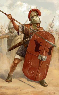 Una gráfica representando a un #LegionarioRomano de las #LegionesDeRoma en acción de combate con escudo y el pilo
