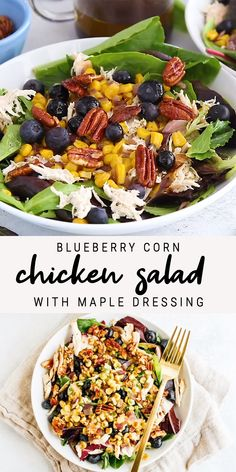 The perfect summertime blueberry corn chicken salad with grilled corn, shredded chicken, roasted pecans and a maple balsamic dressing. Southern comfort food made healthy! comfort food Blueberry Corn Chicken Salad with Maple Dressing Corn Chicken, Thai Chicken, Roasted Pecans, Roasted Corn Salad, Clean Eating, Healthy Eating, Healthy Summer Recipes, Healthy Corn, Green Veggies