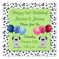 Twins Birthday Party Invitations Twins 2nd Birthday Party Invitation Green