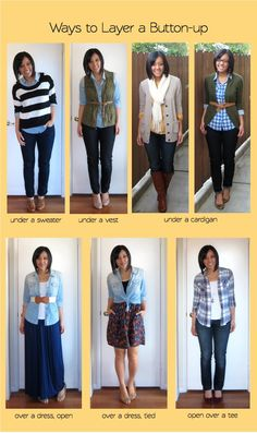 Button-ups are nice because, while the completer pieces I previously mentioned goon topof the rest of the outfit,button-ups doboth, layer underneath something and layer on top of things.    There are so many types of button-ups to choose from: the standard white button-up, silk blouses (or ones that feel similar), gingham/plaid shirts, chambray, etc.