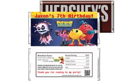 Pac-Man and the Ghostly Adventures Birthday Candy Bar Wrappers Party Favors - partyexpressinvitations