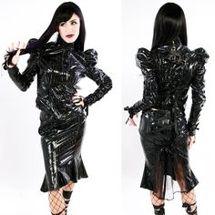 Black Diamond Dynasty Jacket and Knee Length Skirt. I never wear vinyl anymore but this line is very gorgeous!