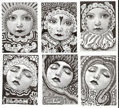 Art Beckons: Zentangle ATC Swap sample uses rubber stamp face, black lines around each face Doodles Zentangles, Tangle Doodle, Tangle Art, Zen Doodle, Zentangle Patterns, Doodle Art, Doodle Patterns, Illustration, Arts Ed