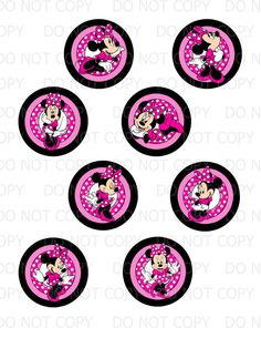 free minnie mouse printables | Printable DIY Minnie Mouse Inspired Cupcake Toppers - set of 8 designs