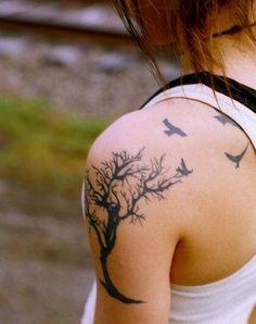 4 Crow Shoulder Tattoo - http://99tattooideas.com/4-crow-shoulder-tattoo/ #tattoo #tattoos #ink