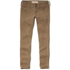 Hollister Crop Pants ($15) ❤ liked on Polyvore featuring pants, capris, tan, wide-leg trousers, wide cropped pants, tan pants, brown trousers and wide-leg pants