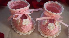 Купить Туфельки для маленькой принцессы. - бледно-розовый, пинетки для девочки, пинетки в подарок, пинетки для новорожденных ♥♥