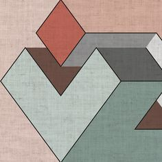 Geometric wallpaper with textile effect GENIUS Total Look Collection By Adriani e Rossi edizioni