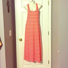 Maxi dress Orange and white maxi dress. Worn just a couple times Ambiance Apparel Dresses Maxi