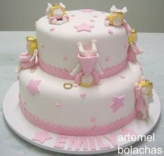 Resultado de imagen para tortas de bautismo Baby Girl Cakes, Easy Cake Decorating, Elegant Cakes, Vegan Baking, Macaron, Kitchen Recipes, Let Them Eat Cake, Amazing Cakes, Christening