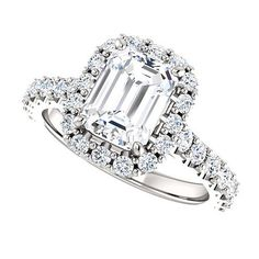 Moissanite Engagement Ring 8x6 Emerald Cut Forever One 18K