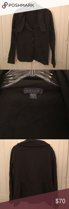 NEW! Lilla P Lightweight Jacket Dark gray Lilla P lightweight jacket. Can be worn as a blazer or jacket in moderate temperatures. Size L and 98% cotton and 2% spandex which allows for a more flexible jacket style. Very good condition. Lilla P Jackets & Coats Blazers