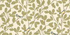 Waldemar (471-09) - Sandberg Wallpapers - A fresh, witty all-over oak tree design with acorns and cute yellow birds in the natural coloured branches – really brings the fresh air inside.  Please ask for sample for true colour match.